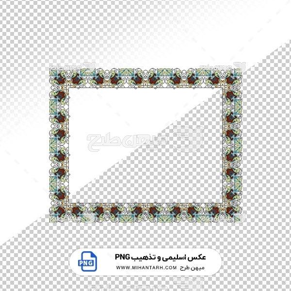 عکس برش خورده اسلیمی و تذهیب قاب با حاشیه طرح گل