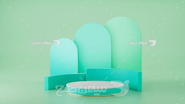 عکس بک گراند مدل مینیمال سبز با سایه آبی