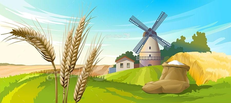 وکتور کاراکتر طبیعت و کیسه برنج