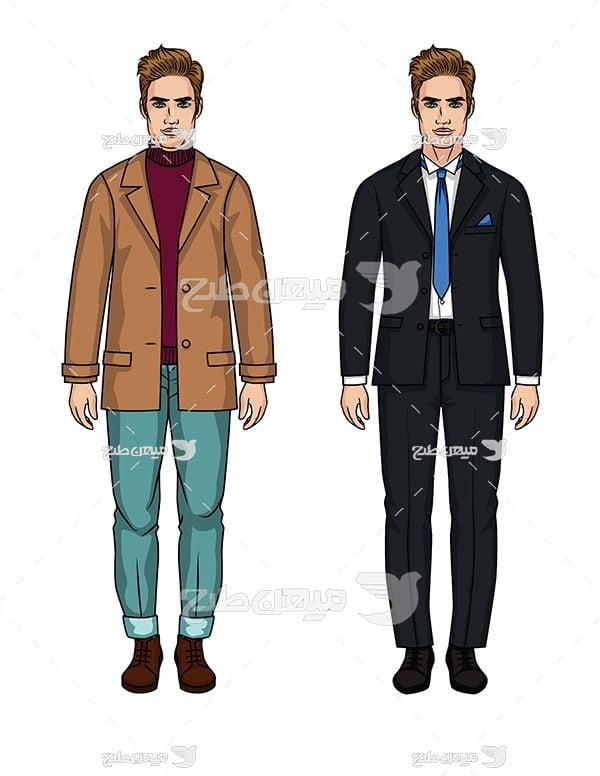 وکتور کاراکتر مد و لباس مردانه