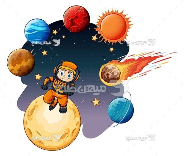 وکتور کاراکتر پسر فضانورد