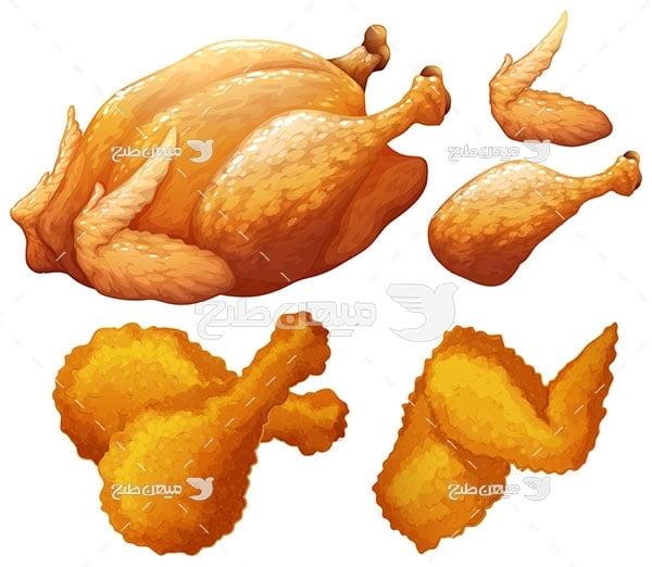 وکتور مرغ سرخ شده