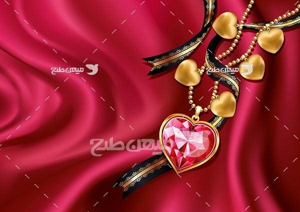 وکتور گردنبند طلا با نگین الماس سرخ