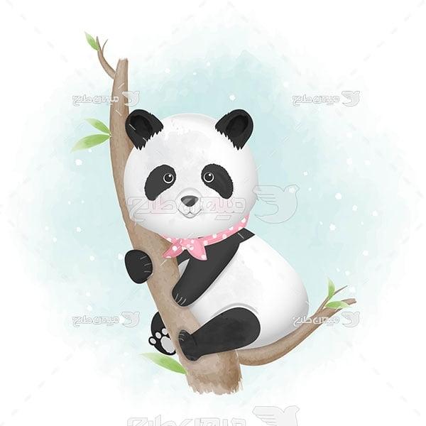 وکتور نقاشی پاندا روی درخت