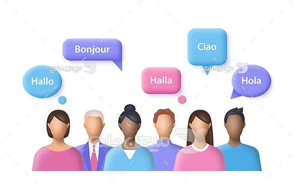 وکتور آموزش مکالمه زبان