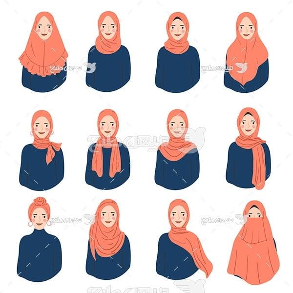وکتور زن با پوشش اسلامی