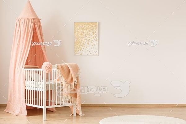 عکس دکور اتاق نوزاد طرح گلبهی روشن