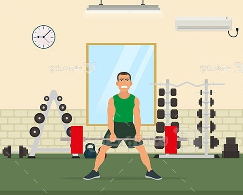 وکتور ورزش و تمرین وزنه برداری