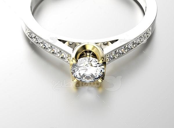عکس انگشتر نقره با نگین الماس کوچک