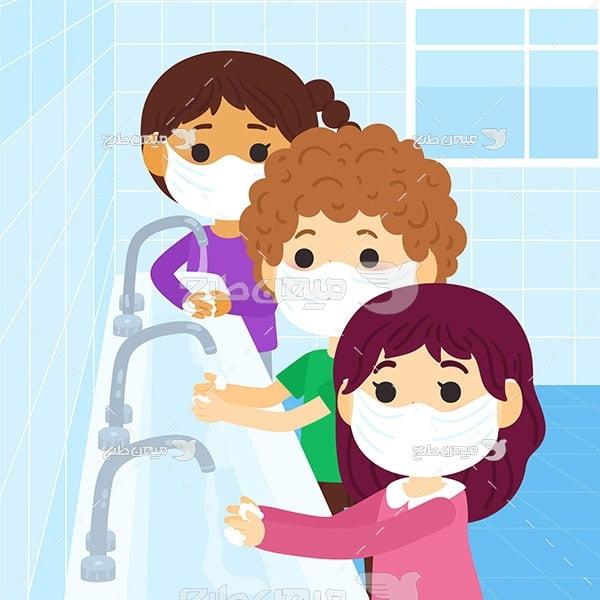 وکتور شستن دست در کرونا