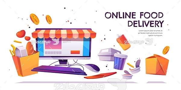 وکتور فروشگاه مواد غذایی آنلاین
