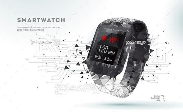 وکتور ساعت هوشمند دیجیتالی