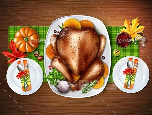 وکتور کاراکتر غذا مرغ سرخ شده