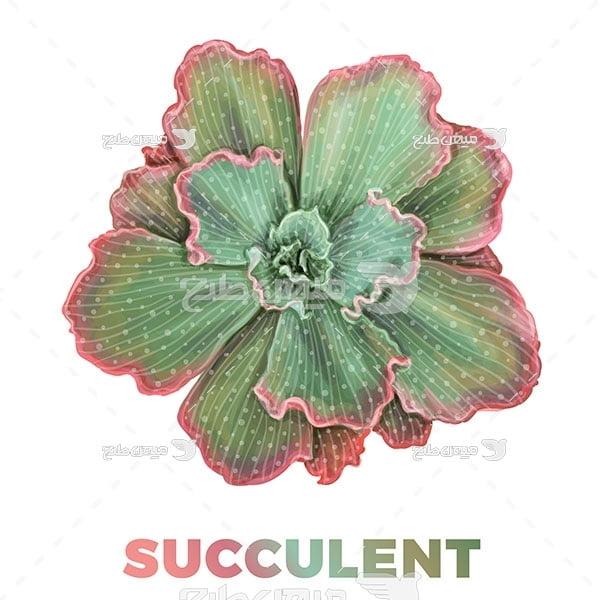 وکتور گل سبز رنگ