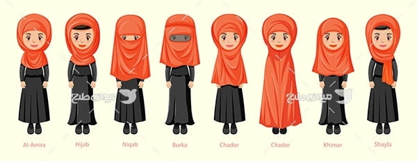 وکتور پوشش زن مسلمان