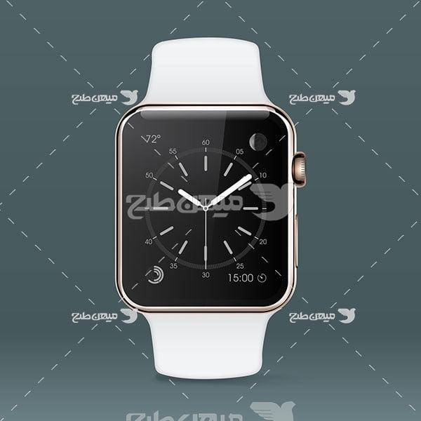 وکتور ساعت هوشمند بند سفید