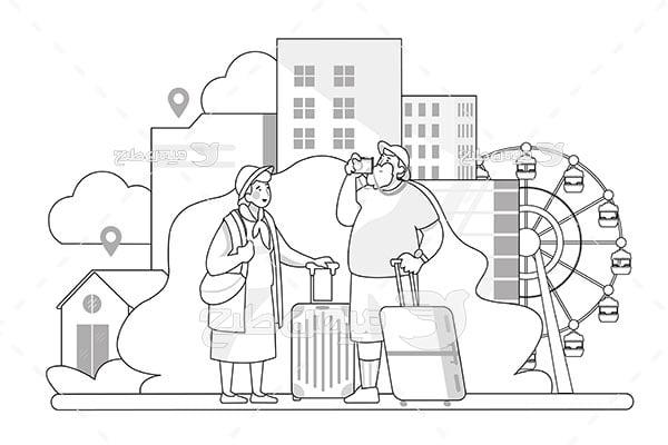 وکتور مسافرت خانوادگی