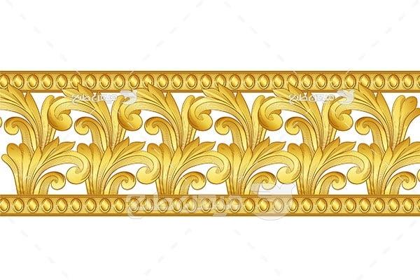 وکتور حاشیه اسلیمی و تذهیب طلایی