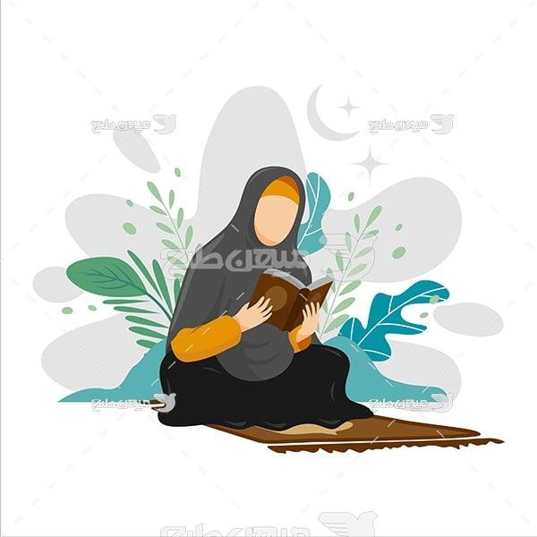 وکتور زن در حال عبادت
