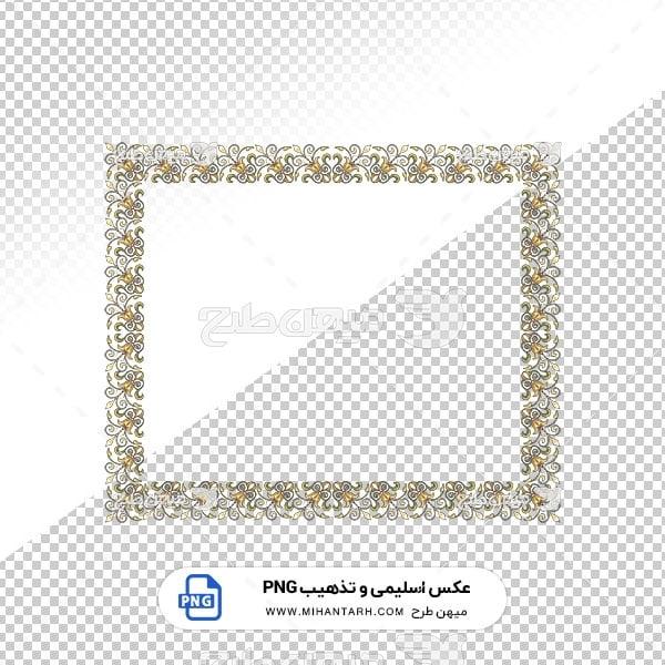 عکس برش خورده اسلیمی و تذهیب قاب با حاشیه گل