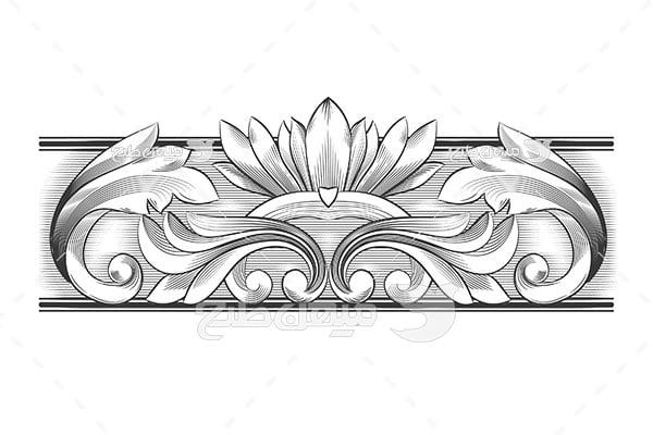 وکتور حاشیه اسلیمی و تذهیب طراحی گل