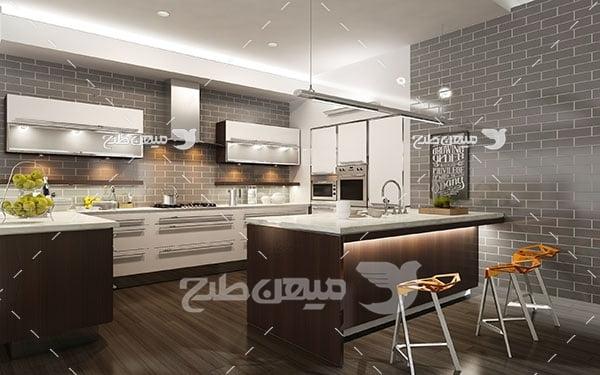 عکس نمای از آشپزخانه و میز نهارخوری