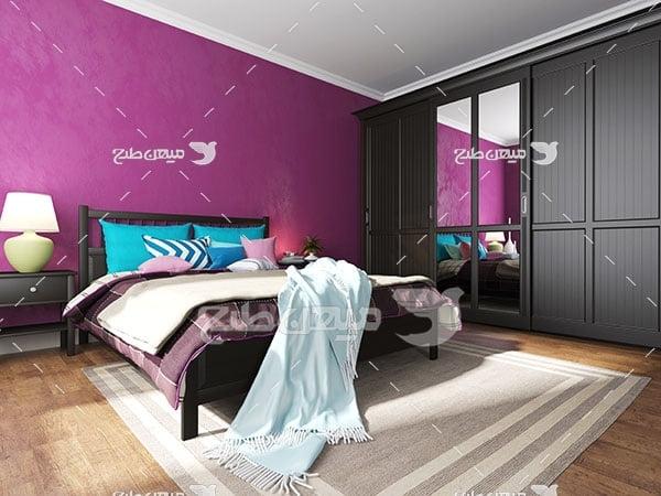 عکس اتاق خواب با دکور دیوار صورتی