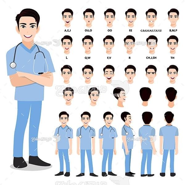 وکتور چهره و صورت پزشک