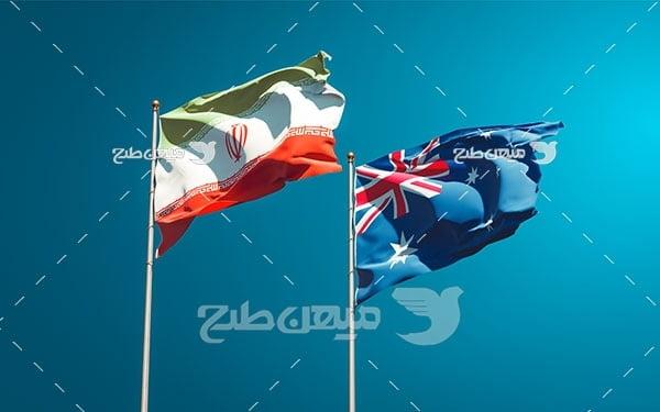 عکس پرچم ایران و استرالیا