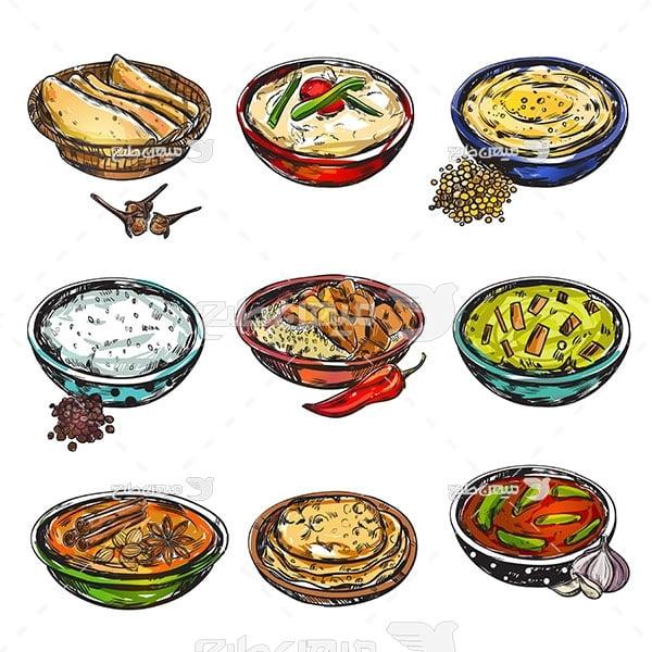 وکتور انواع غذا و خوراکی