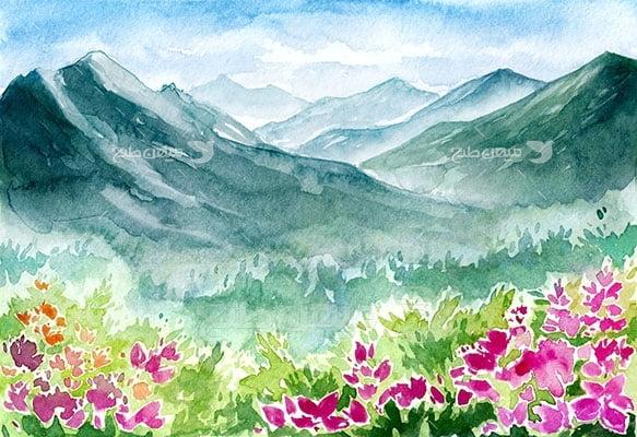 وکتور کاراکتر طبیعت و نقاشی کوهپایه