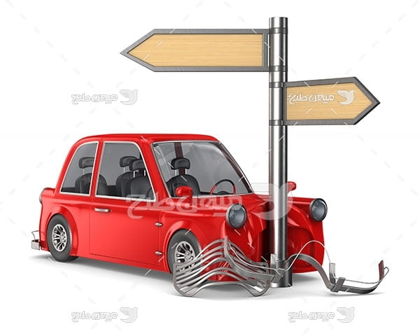 عکس تصادف خودرو با تابلو راهنمایی و رانندگی