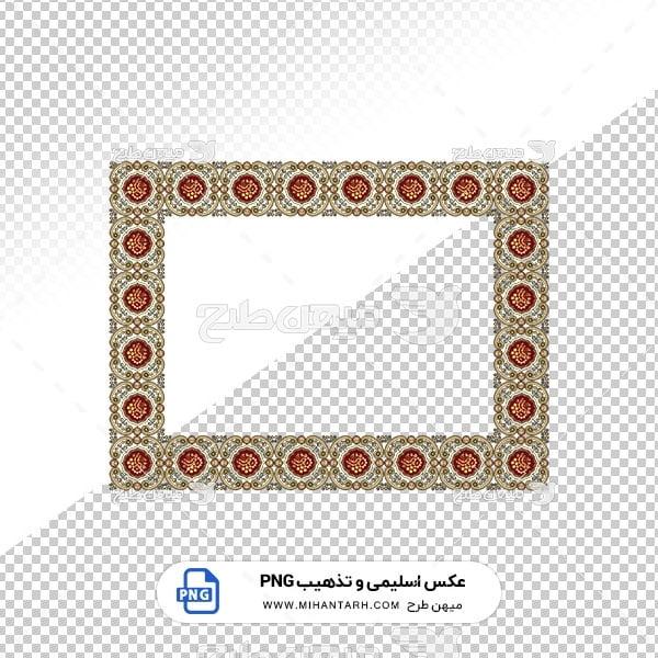 عکس برش خورده اسلیمی و تذهیب قاب با حاشیه دایره قرمز رنگ