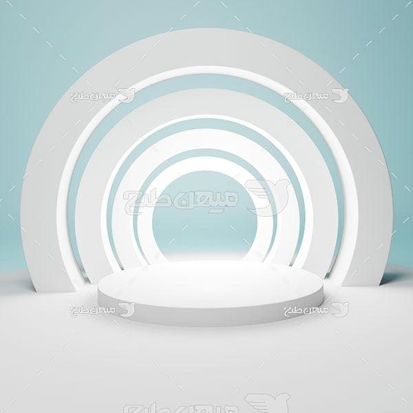 عکس بک گراند مدل مینیمال تونل حلقه ای سفید
