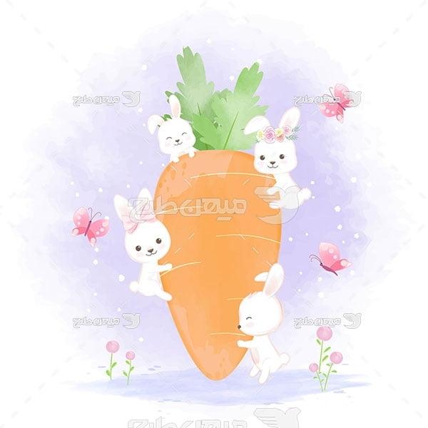 وکتور نقاشی هویج و خرگوش های کوچک