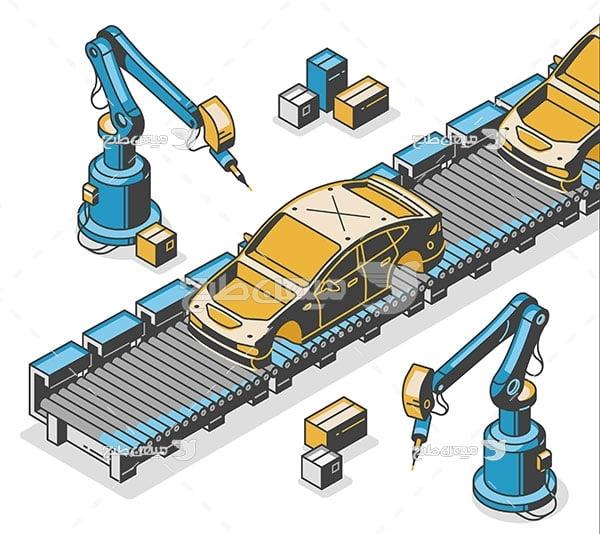 وکتور خط تمام رباتی تولید خودرو