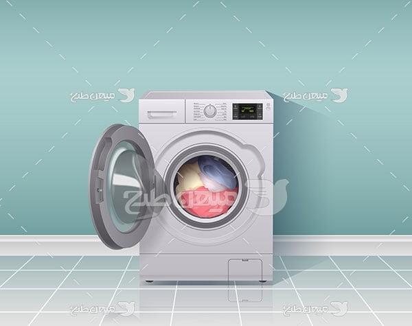 وکتور ماشین لباسشویی اتوماتیک