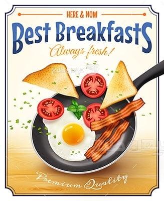 وکتور کاراکتر غذا صبحانه خوب