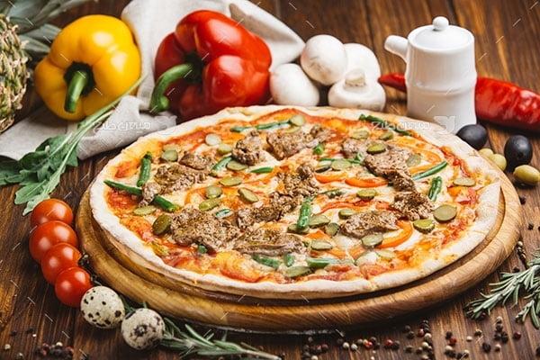 عکس تبلیغاتی غذا پیتزا گوشت