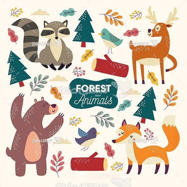 وکتور حیوانات جنگل