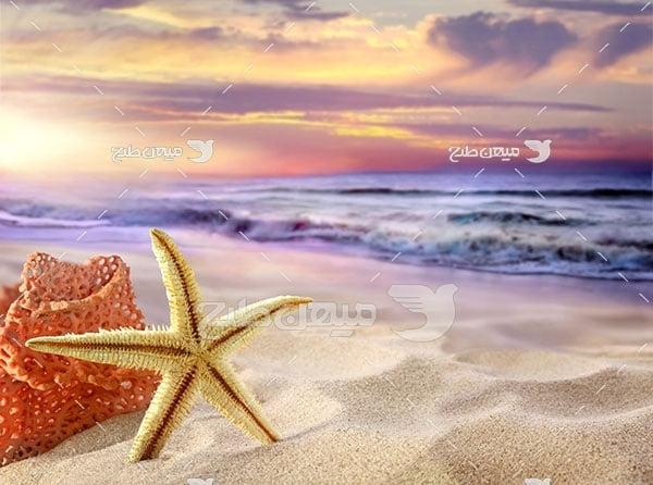 عکس غروب ساحل دریایی