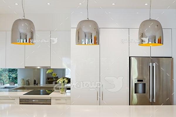 عکس دکور آشپزخانه با ام دی اف سفید براق