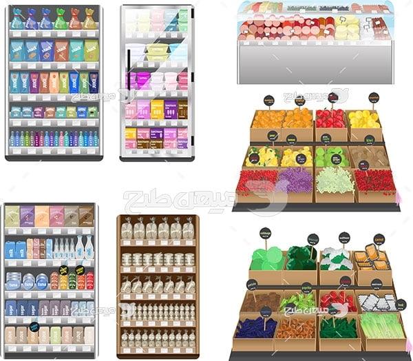وکتور فروشگاه میوه و مواد غذایی