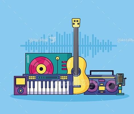 وکتور کاراکتر انواع آلات موسیقی