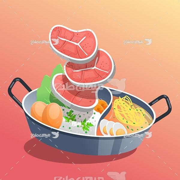 وکتور خوراک استیک گوشت