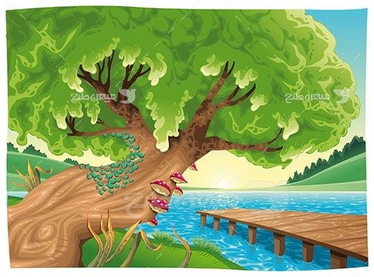 وکتور کاراکتر طبیعت درخت در ساحل