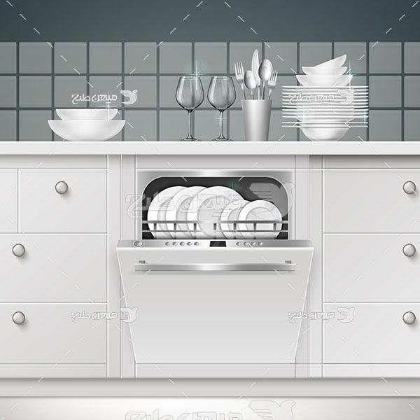 وکتور ماشین ظرفشویی آشپزخانه