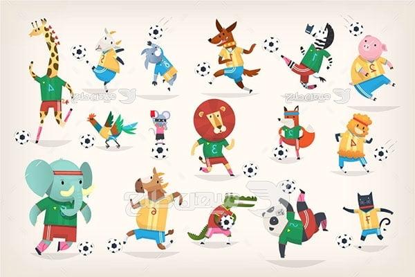 وکتور حیوانات کارتونی فوتبالیست