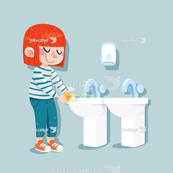 وکتور شستن دست با آب و صابون