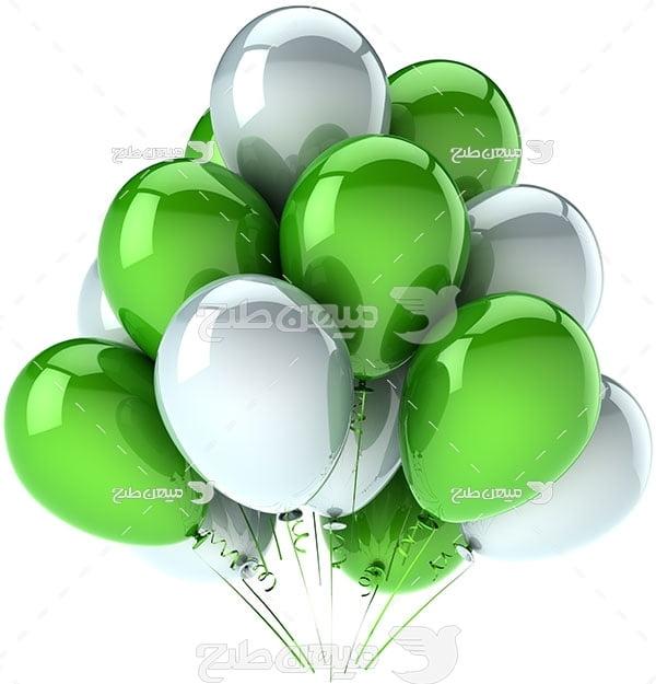 عکس تبلیغاتییک دسته بادکنک سبز و سفید